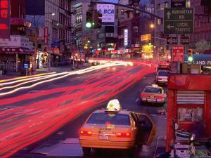 Canal Street with Cab, Chinatown, NYC by Rudi Von Briel