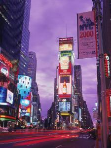 Millennium Sign and Times Sq at Night, NYC by Rudi Von Briel