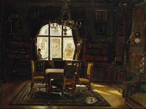 An Interior with a Lady Reading by a Window by Rudolf Konopa