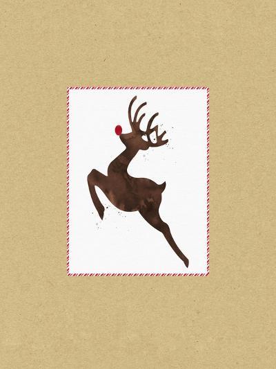 Rudolph on Kraft-Linda Woods-Art Print