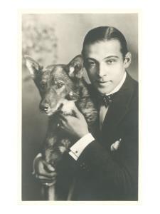 Rudolph Valentino with Dog