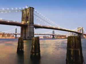 Brooklyn Bridge and Manhattan Bridge at Twilight by Rudy Sulgan