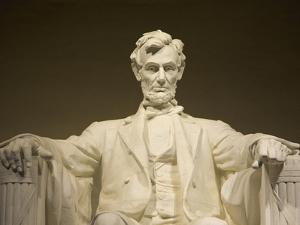 Detail of Lincoln Statue at Lincoln Memorial by Rudy Sulgan