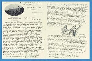 Autograph Letter to Col. H. W. Feilden, Hotel Bellvue Cannes, 9th April, 1921 by Rudyard Kipling