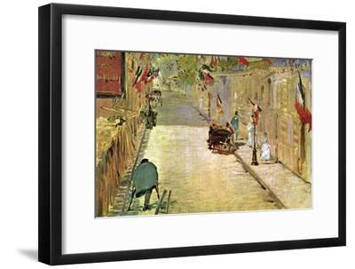 Rue Mosnier with Flags-Edouard Manet-Framed Art Print