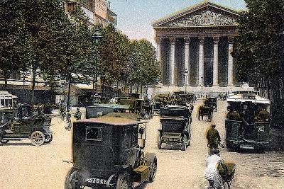 Rue Royale and the Madeleine, Paris, with Cars and a Motorbus on the Street, C1900--Giclee Print