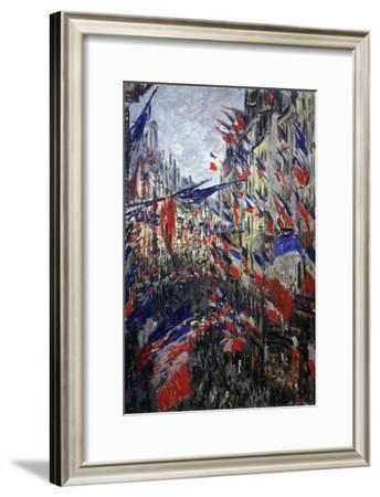 Rue St Denis in Paris During Patriotic Festival of June 30, 1878-Claude Monet-Framed Giclee Print