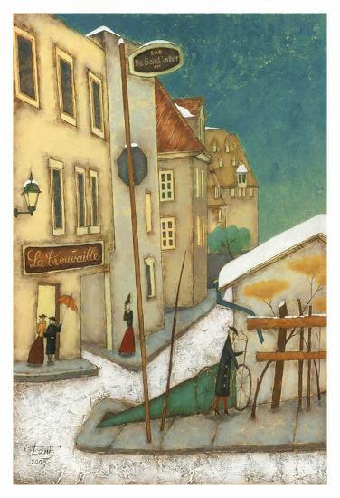 Rue St-Vallier, Québec-Steven Lamb-Art Print