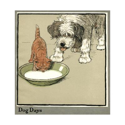 Rufus the Cat Drinks from a Bowl, Watched by a Dog-Cecil Aldin-Giclee Print