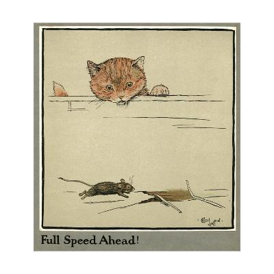 Rufus the Cat Watches a Mouse-Cecil Aldin-Giclee Print