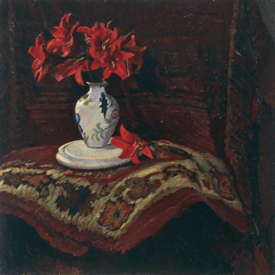 Rug and Vase with Red Lilies-Mario Puccini-Giclee Print