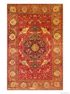 Rug Decorated with Scenes of Fighting Animals
