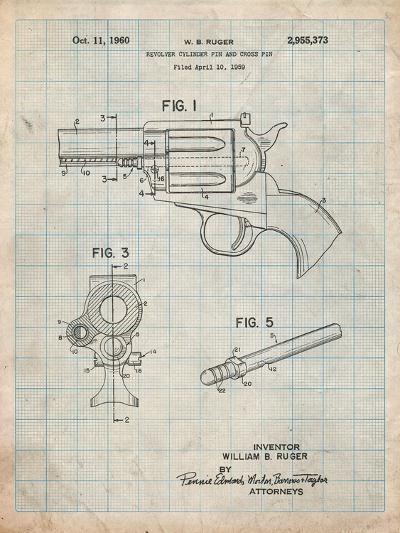Ruger Revolver Patent Art-Cole Borders-Art Print