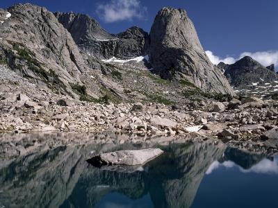 Rugged Landscape with Pingora Peak Reflection in Hidden Lake, Cirque of the Towers-Jeff Foott-Photographic Print
