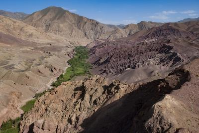Rugged Landscapes and Green Patchwork Fields Near Shahr-E Zohak, Afghanistan, Asia-Alex Treadway-Photographic Print