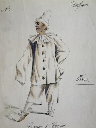 Costume Sketch for Role of Canio, Clown in Play Within Play, in Opera Pagliacci, 1892