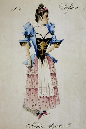 Costume Sketch for Role of Nedda, Colombina in Play Within Play, in Opera Pagliacci, 1892