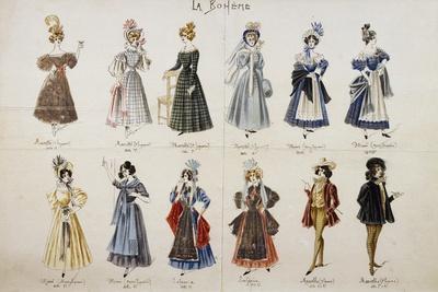 Costume Sketches of Main Characters in Opera La Boheme
