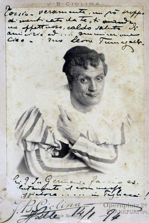 Leone Fumagalli, Italian Baritone, in Role of Tonio of I Pagliacci, 1892