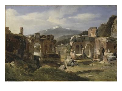 Ruine du théatre de Taormine (Sicile)-Achille Etna Michallon-Giclee Print