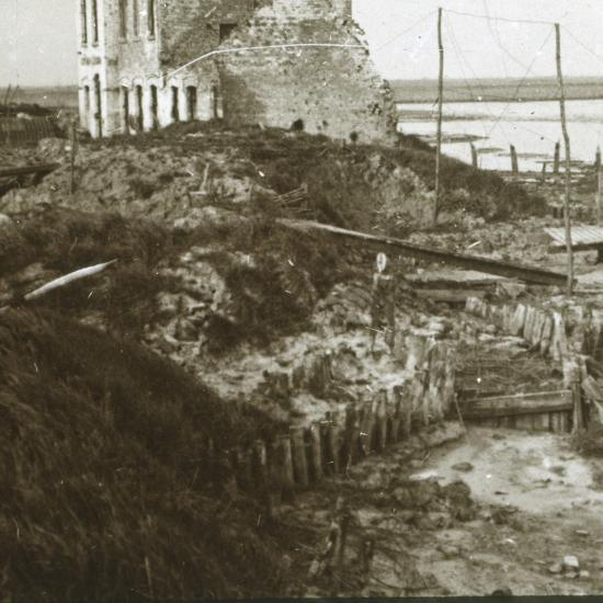 Ruined building and trenches along the coast, c1914-c1918-Unknown-Photographic Print