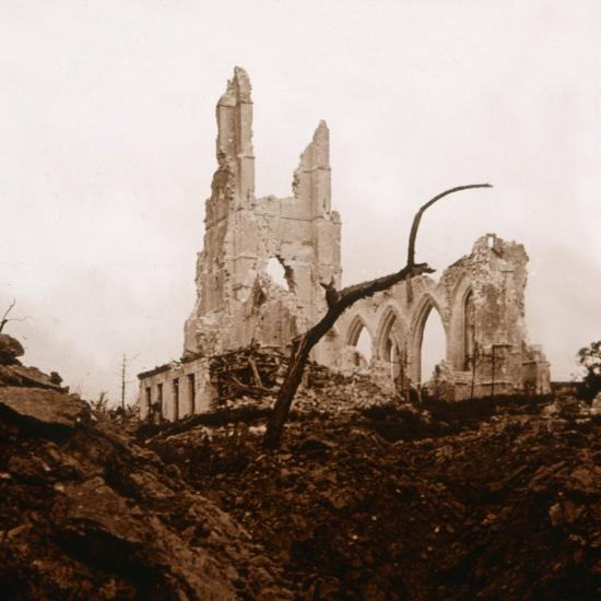 Ruined church, Ablain-Saint-Nazaire, Northern France, c1914-c1918-Unknown-Photographic Print