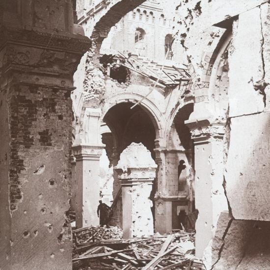 Ruined church, Albert, northern France, c1914-c1918-Unknown-Photographic Print