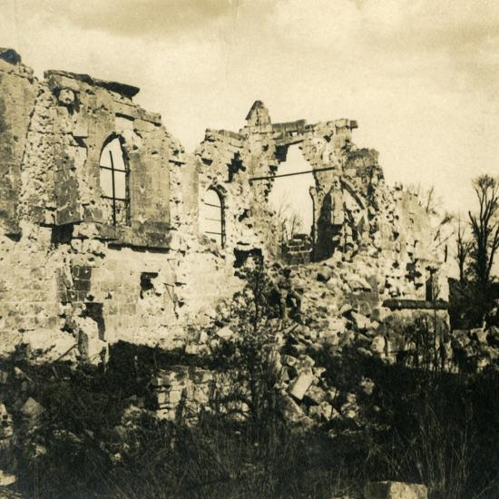 Ruined church at Dreslincourt, northern France, c1914-c1918-Unknown-Photographic Print