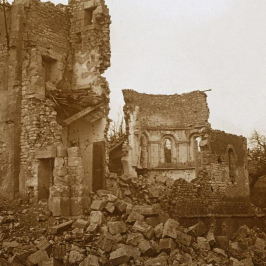 Ruined church, Trésauvaux, northern France, c1914-c1918-Unknown-Photographic Print