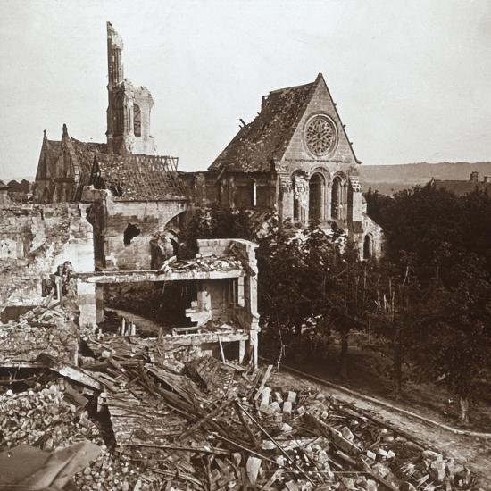 Ruined church, Vauxaillon, northern France, c1914-c1918-Unknown-Photographic Print