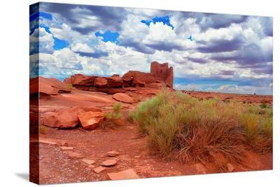 Ruined Dwellings at Wupatki--Stretched Canvas Print