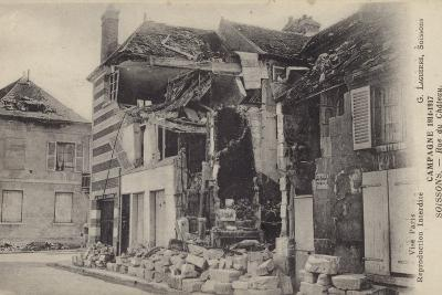 Ruined House in the Rue Du Chateau, Soissons, France, World War I--Photographic Print