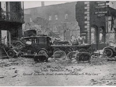 Ruined Sackville Street, Dublin, Barricaded with Motor Cars--Photographic Print