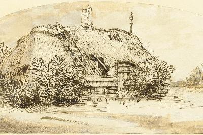 Ruined Thatched Cottage Overgrown with Bushes (Pen and Ink and Wash on Paper)-Rembrandt van Rijn-Giclee Print