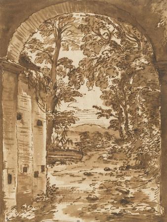 Ruines et paysage vus à travers un arc-Nicolas Poussin-Giclee Print