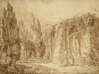 Ruines romaines dans un parc, fontaine ornée d'une statue colossale de Minerve-Hubert Robert-Giclee Print