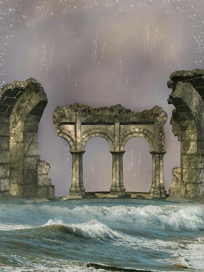 Ruins In The Sea-justdd-Art Print