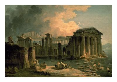 Ruins of a Doric Temple-Hubert Robert-Art Print