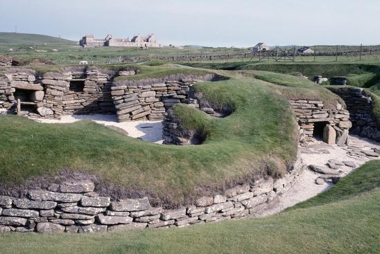 Ruins of a Prehistoric Neolithic Village of Skara Brae--Photographic Print