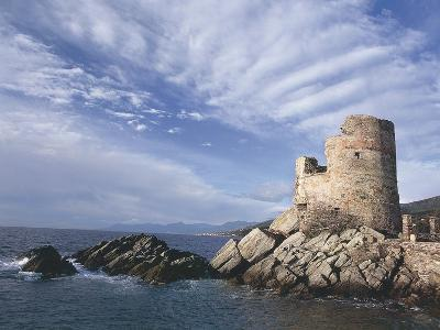 Ruins of a Tower at the Seaside, Genoese Tower, Erbalunga, Haute-Corse, Corsica, France--Photographic Print
