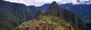 Ruins of Buildings at an Archaeological Site, Inca Ruins, Machu Picchu, Cusco Region, Peru