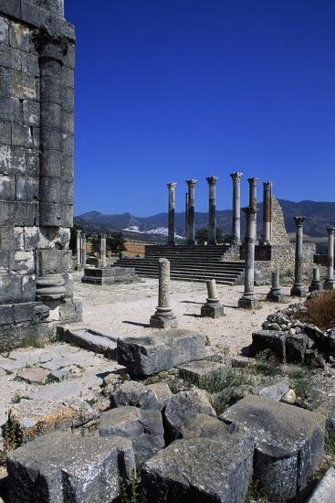 Ruins of Capitoline Temple, Roman City of Volubilis--Photographic Print