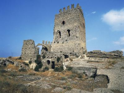 Ruins of Castle in Cefala Diana, 13th Century, Sicily, Italy--Photographic Print