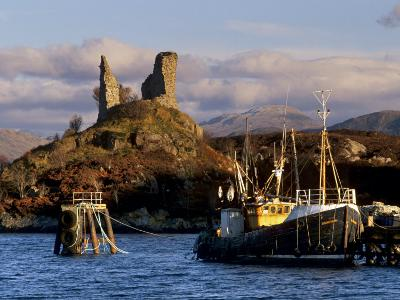 Ruins of Castle Moil and Fishing Harbour at Kyleakin, Skye, Inner Hebrides, Highlands, Scotland-Patrick Dieudonne-Photographic Print
