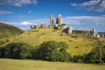 Ruins of Corfe Castle Near Wareham, Isle of Purbeck, Dorset, England-Brian Jannsen-Photographic Print
