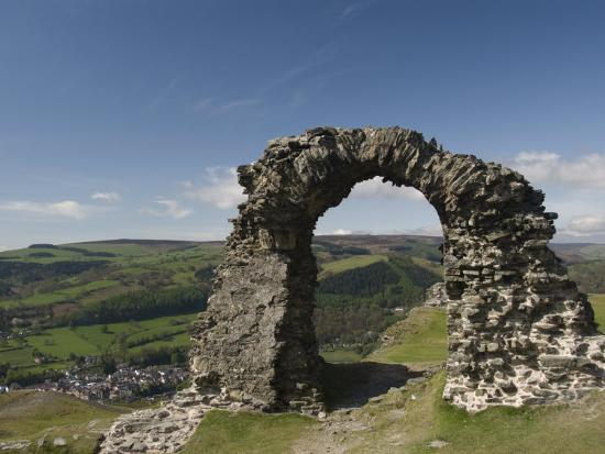 Ruins of Dinas Bran Castle and Village of Llangollen Below, Denbighshire-Richard Maschmeyer-Photographic Print