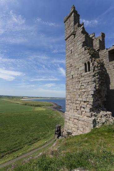 Ruins of Dunstanburgh Castle, Overlooking Fields and Embleton Bay, Northumberland, England, U.K.-Eleanor Scriven-Photographic Print