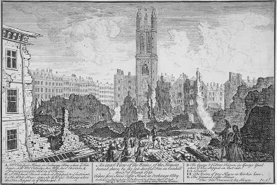 Ruins of Houses Burnt Down in a Fire in Cornhill, City of London, March 25, 1748--Giclee Print