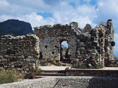 Ruins of Norman Castle of Castelmola, Sicily, Italy--Photographic Print