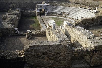 Ruins of Roman Theatre of Albintimilium, Ventimiglia, Liguria, Italy Ad--Giclee Print